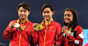 女子十米跳台:中国选手包揽金银牌