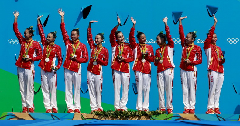 花样游泳集体自由自选决赛颁奖仪式