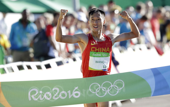 里约奥运竞走冠军王镇为汉丰湖国际半程马拉松赛送祝福