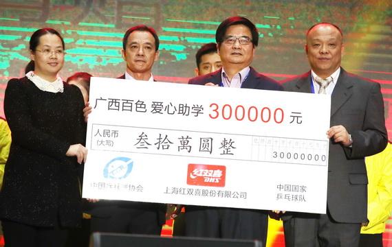 张继科、刘诗雯助阵 红双喜联手国乒广西百色助学