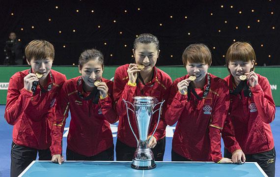 中国乒乓球女队击败日本 取得团体世界杯女团冠军