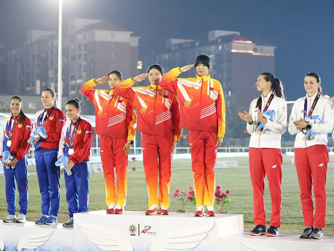 现代五项八一女队蝉联军运会女子团体冠军