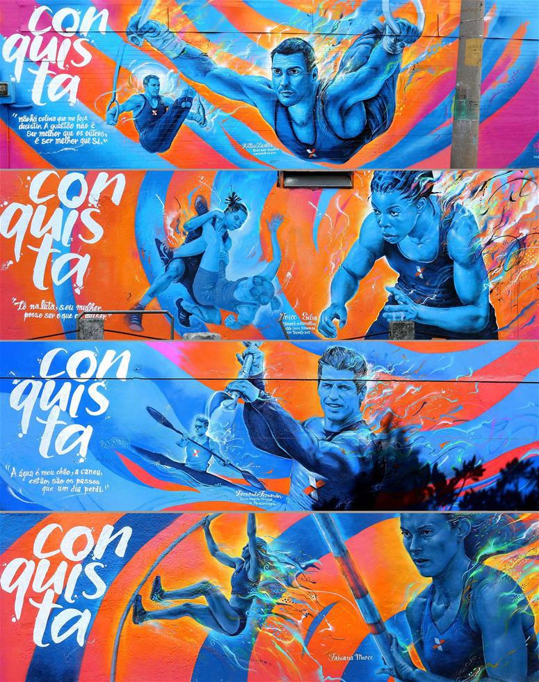 拼版照片为在里约不同地点拍摄的与奥运相关的涂鸦画。涂鸦所描绘的人物从上至下依次为伦敦奥运会金牌得主、巴西男子体操吊环世界冠军亚瑟·扎内蒂(7月7日摄);巴西自由式摔跤手乔伊斯·席尔瓦,她在2015泛美运动会上成为巴西首位摔跤金牌获得者(7月7日摄);巴西著名残疾人皮划艇选手费尔南多·费尔南德斯(7月8日摄);巴西女子撑杆跳世界冠军法比亚娜·穆雷尔(7月7日摄)。