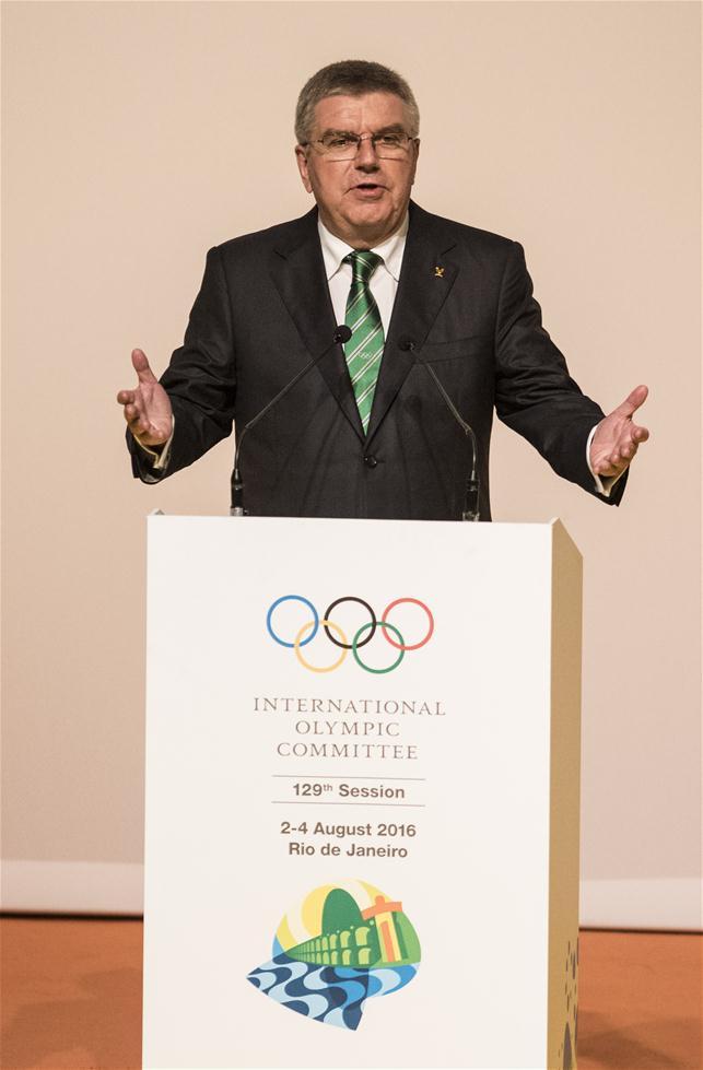 国际奥委会主席巴赫在开幕式上致辞。