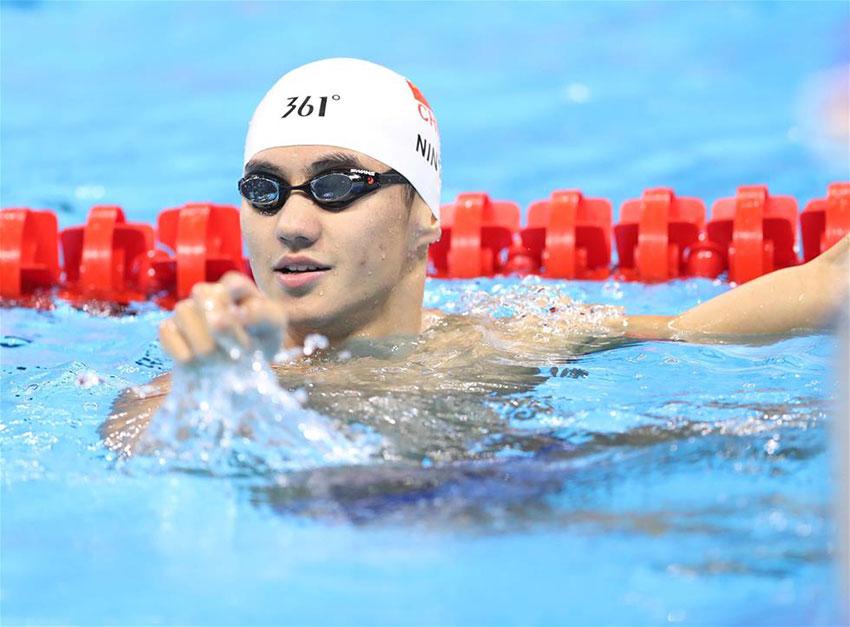 中国游泳队队员宁泽涛在训练间隙。