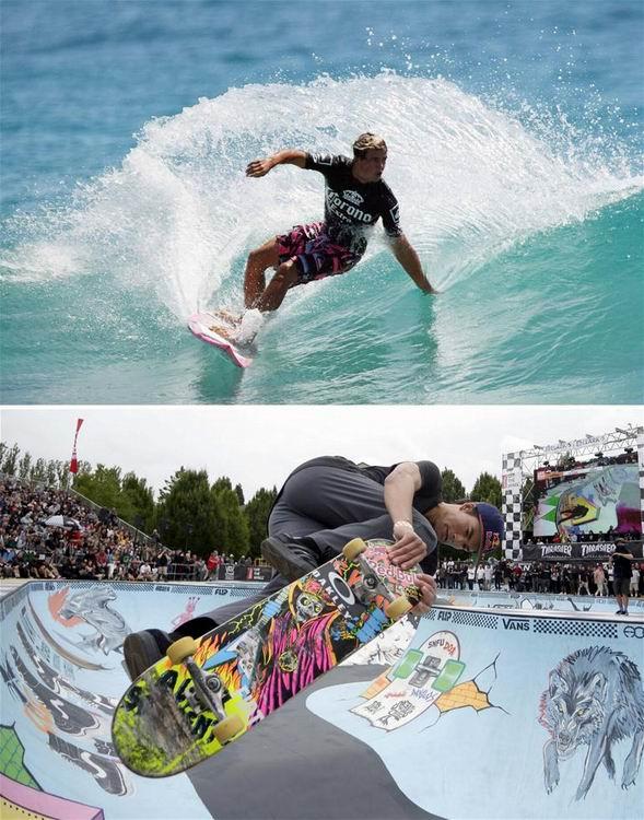 上图为2009年3月8日,澳大利亚选手朱·威尔逊在ASP世界冲浪巡回赛澳洲站比赛中。 下图为2015年7月11日,一名参赛者在温哥华举行的第二届花式滑板邀请赛中。 新华社发