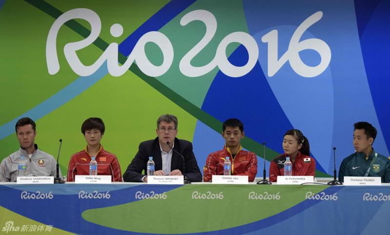 2016年08月03日,张继科、丁宁、福原爱领衔乒乓球运动员出席抽签仪式之后的赛前发布会。