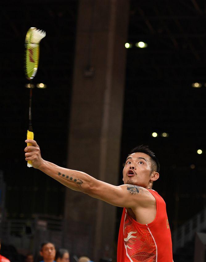 中国选手林丹在比赛中