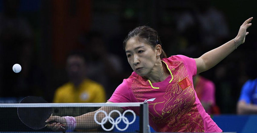 中国队选手刘诗雯在比赛中。最终,她以3比0战胜朝鲜队选手金宋依。