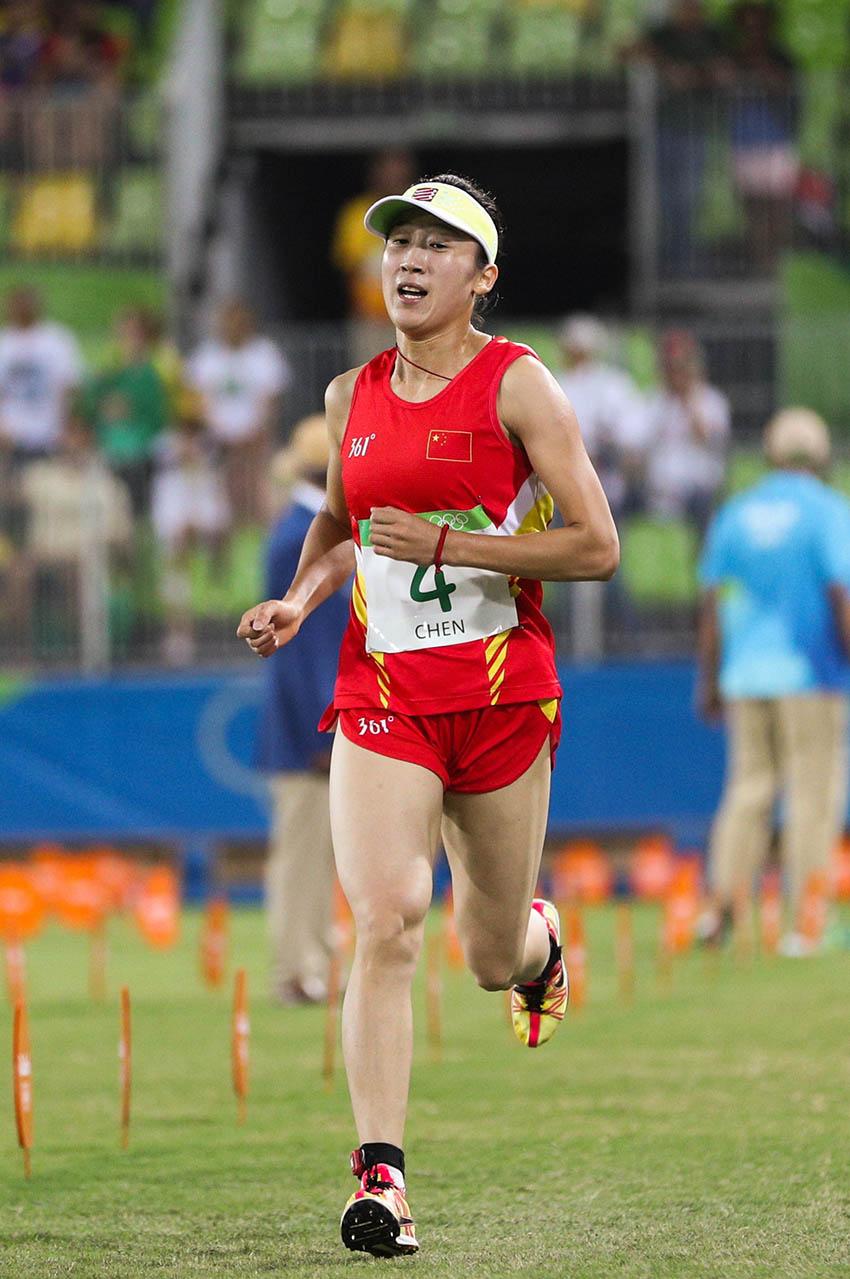 陈倩在女子现代五项跑射联项比赛中