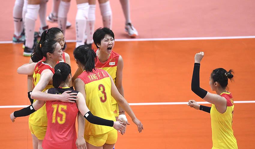 中国队球员庆祝得分