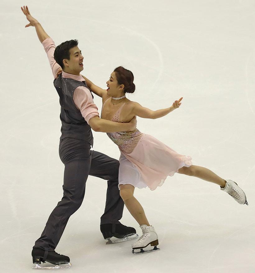 中国选手王诗玥(右)/柳鑫宇在冰舞自由舞比赛中。