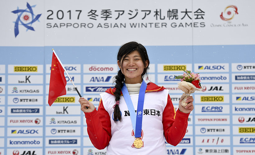 中国选手刘佳宇在颁奖仪式上。
