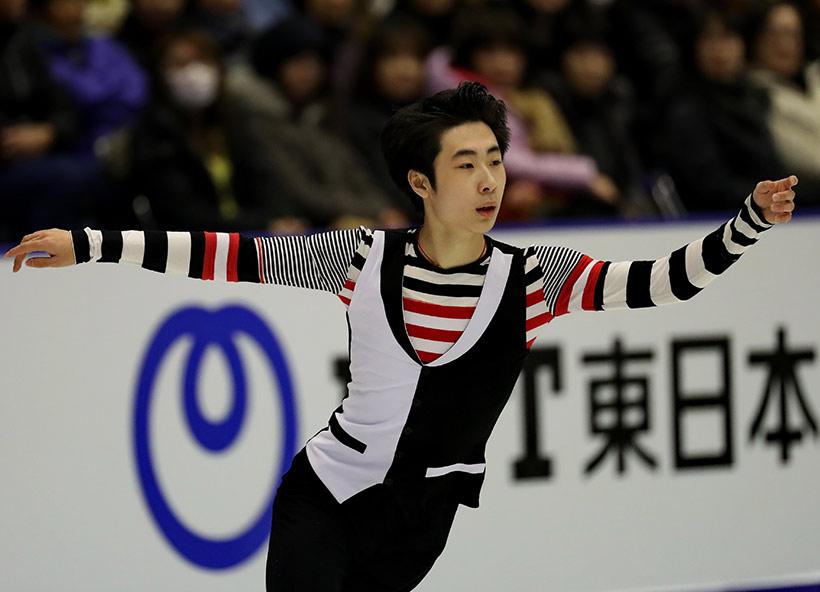 中国选手金博洋在自由滑比赛中。