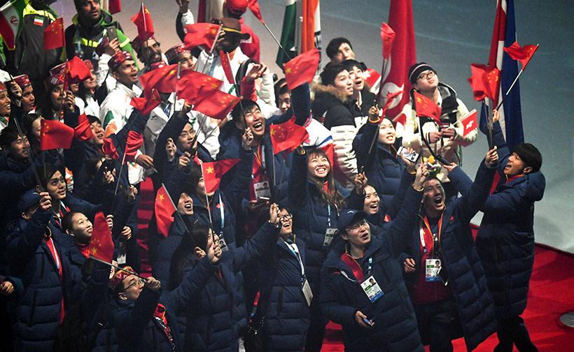 中国代表团部分成员在闭幕式上。新华社记者江文耀摄