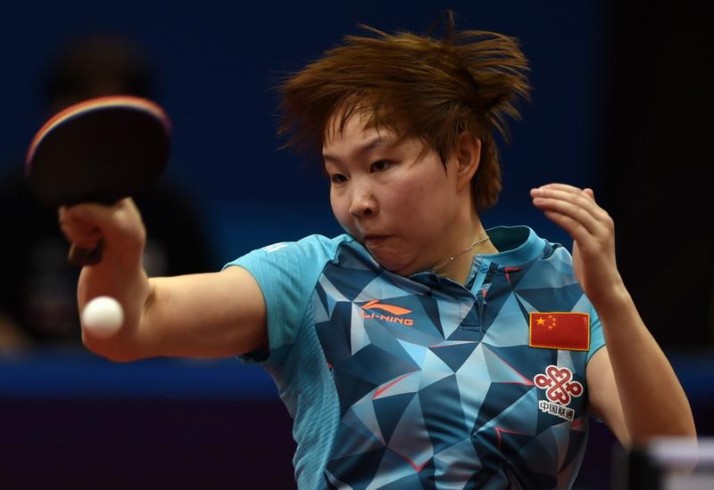 中国队选手朱雨玲在比赛中回球