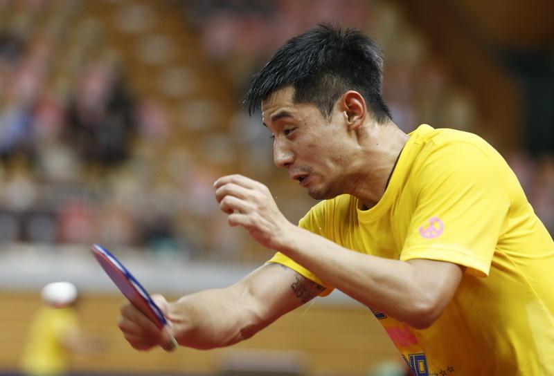 5月22日,张继科在训练中。