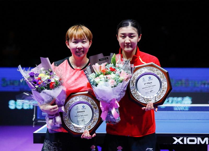 朱雨玲(左)和陈梦在赛后合影