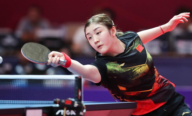 中国队选手陈梦在比赛中