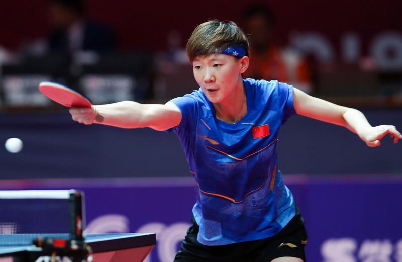 王曼昱在比赛中