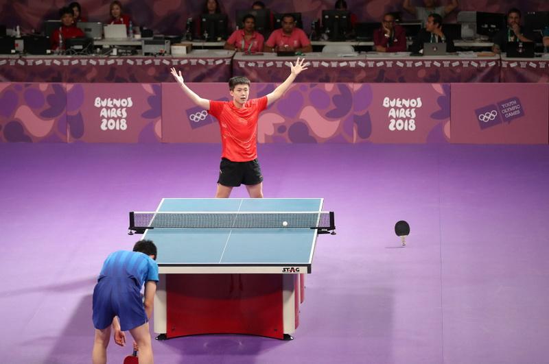 中国选手王楚钦(上)在获胜后庆祝