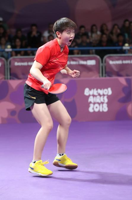 中國選手孫穎莎在比賽中慶祝得分