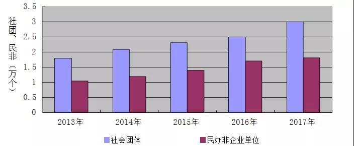 2013-2017年体育社会组织结构变化